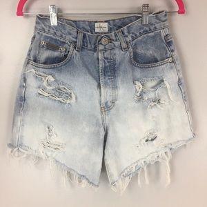 Vtg sandblast high waist cutoff shorts button fly